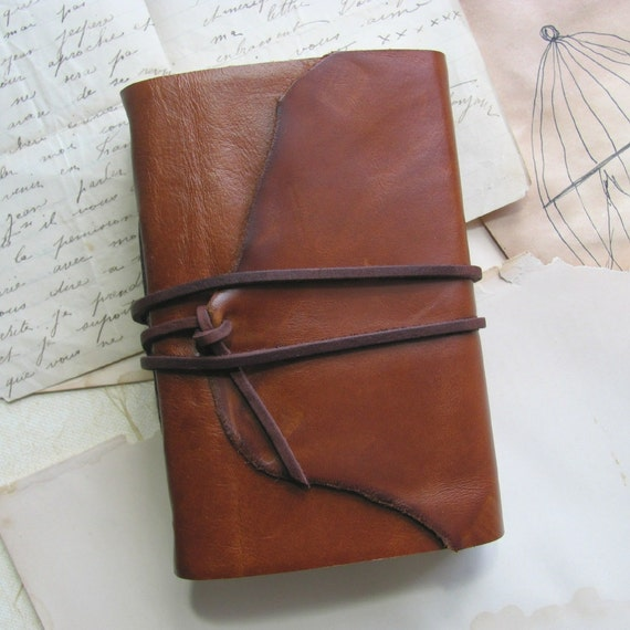 Fat Little Caramel Brown Leather Journal with Watercolor Paper