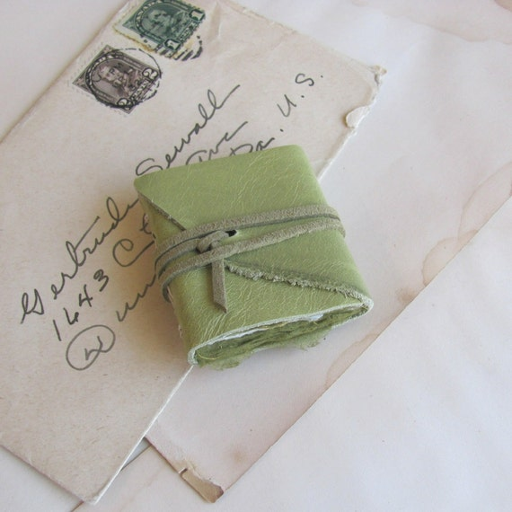 Teeny Tiny Green Leather Journal