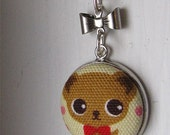 Kawaii Fabric Button Pendant with .925 sterling silver chain (CLEARANCE)