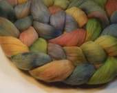 Waterlilies in the Rain II - hand dyed Polwarth combed top - 4 oz