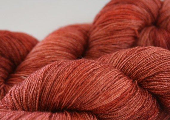 """Bluefaced leicester BFL Silk lace yarn hand dyed Guinevere Lace """"Jacinth"""""""
