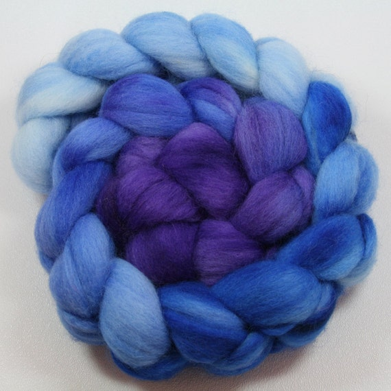 Nerissa - hand painted Falkland wool combed top - gradient dyed - 4 oz