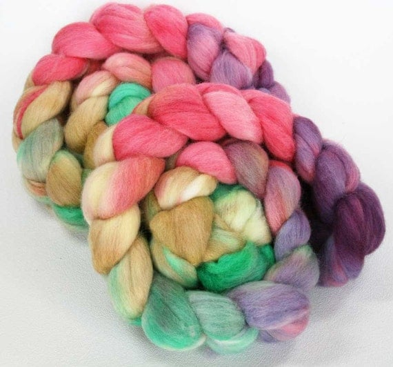 Lyme Regis - hand dyed Polwarth wool roving combed top - 4 oz
