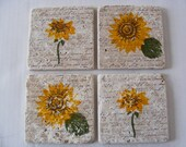 Mom Mothers Day Sunflower Tile Drink Coasters - Set of 4 - Perfect for Hot or Cold Beverages and Makes a Great  Gift
