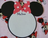 12 Minnie Mouse Personalized Name Cards with Red Polka Dot Bow - Envelopes Included