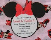 Minnie Mouse Glitter Invitations Red Minnie Invitations Minnie Mouse Head Invitation Minnie Birthday Baby Shower Invitations Minnie Inspired