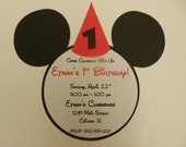 Mickey Mouse Inspired Invitations Mickey Party Hat Birthday Invitations Mickey Birthday Invitations Red Mickey Invitations 1st Birthday