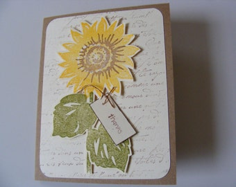 SUNFLOWER Thank You Card - Blank Cards with Envelope