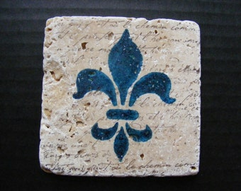 Royal Blue Fleur De Lis Travertine Tile Coasters with French Script - Perfect for Home Decor