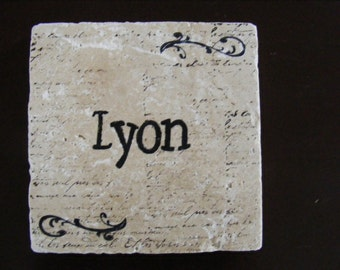 Custom Personalized Family Name Travertine Tile Trivet - 6 x 6