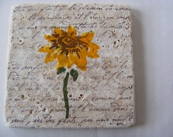 Sunflower Natural Stone Tile Drink Coasters - Set of 4 - Perfect for Hot or Cold Beverages and Makes a Great  Gift