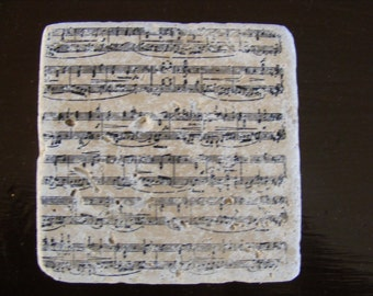 Sheet Music Coasters Travertine Tile - Piano Band Orchestra Teacher Gift Idea - Set of 4 - Perfect for Hot or Cold Beverages
