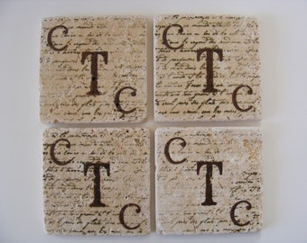 Monogram 3 Initials Coasters Monogram His Hers Initials Travertine Tile Coasters Set of 4 Drink Coaster Wedding Gift Newly Married Couple