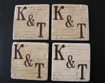 Custom Brown 2 Letter Monogram Travertine Tile Coasters  - Set of 4 Drink Coasters - Newly Engaged Couple Bridal Shower or Wedding Gift