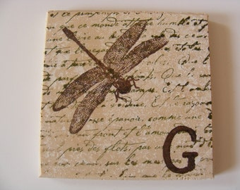 Dragonfly Coasters Monogram Dragonfly Coasters Brown Dragonfly Natural Tile Coasters Set of 4 Home Decor Gift or Keep a Set for Yourself