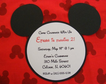 Mickey Invitations Mickey Mouse Inspired Birthday Invitations - Mickey Mouse Head Die Cut Invitations - Envelopes Included