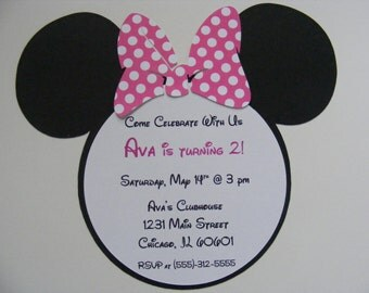 Handmade Minnie Mouse Invitations with Pink Polka Dot Bow Minnie Mouse Inspired Invitations