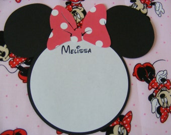 Minnie Invitation Minnie Thank You Card Melissa Card Minnie Mouse Inspired Monogram Personalized Note Cards - Envelopes Included
