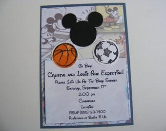 Mickey Mouse Inspired Sports Invitations Mickey Happy Birthday Party Invitations Mickey Football Basketball Baseball Soccer Invitations