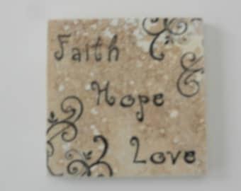 Faith Hope Love Coasters Travertine Tile Stone - Set of 4 - Home Decor