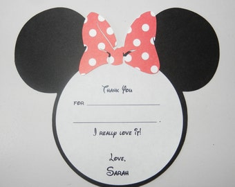 Minnie Fill in Blank Card Minnie Mouse Thank You Card Minnie Mouse Inspired Birthday Thank You Cards - Fill In Blank - Envelopes Included