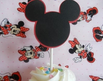 Mickey Inspired Cupcake Toppers Mickey Mouse Cup Cake Pop Top Toppers - Set of 12