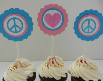 Peace Sign Heart Cupcake Toppers - Teen Happy Birthday DIY Party