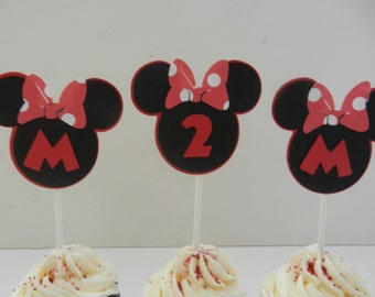Minnie Inspired Cupcake Toppers  Minnie Mouse Happy Birthday Baby Shower DIY Party Cupcake Cake Pop Top Toppers