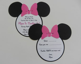 Minnie Mouse Invitations Minnie Mouse Thank You Cards Minnie Glitter Minnie Mouse Inspired Invitations and Fill In Blank Thank You Cards