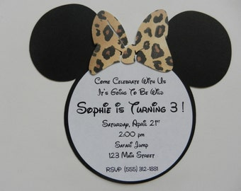 Giraffe Leopard Minnie Mouse Inspired Invitations Minnie Leopard Safari Zoo Invitations Minnie Mouse Girl Birthday Party Invitation