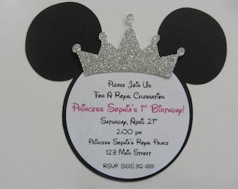 Minnie Mouse Princess Tiara Invitations Princess Minnie Birthday Party Invitations - Envelopes Included