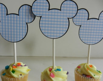 Mickey Mouse Cup Cake Cupcake Toppers Cake Pop Top Toppers Mickey Gingham Blue Fruit Dessert Cheese Tray Centerpiece Mickey Mouse Inspired