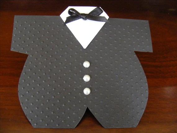 Onesie Tuxedo Card Baby Shower Invitation Thank You Card Party Favor - Newborn Infant Onesie Design