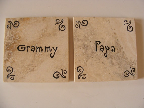 Grammy and Papa Tile Coasters Grandparents Coasters Christmas Grandma Grandpa Pappa Grammie Coasters Birthday Anniversary or I Love You Gift