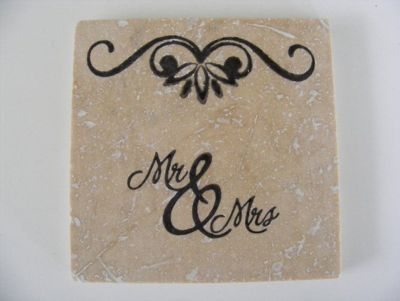 Mr and Mrs Couples Travertine Tile Coasters  - Perfect for Newly Engaged Couple Bridal Shower Wedding or Anniversary Gift