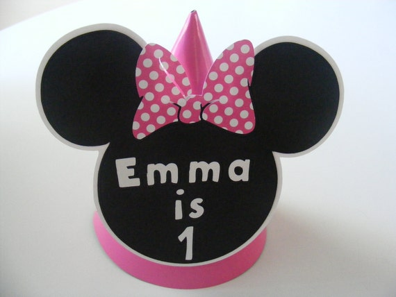 Mickey Minnie Mouse Inspired Party Hat - Custom Made with Name Minnie Mouse Party Hat Minnie Pink Red Purple Cone Hat Personalized