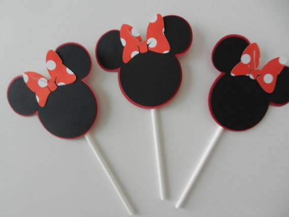 Minnie Mouse Inspired Cupcake Toppers - Happy Birthday Baby Shower DIY Party