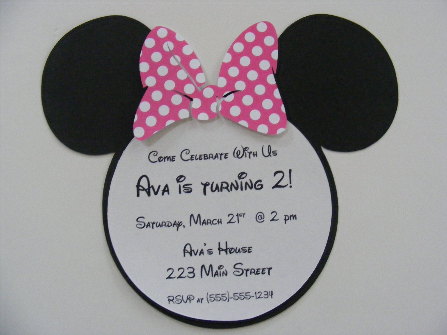 minnie mouse invitations custom listing by