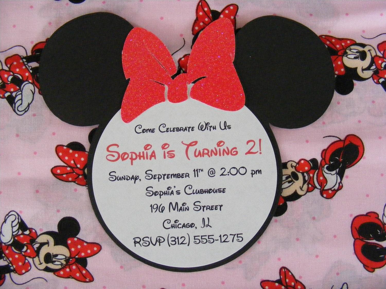 Handmade Minnie Mouse Glitter Invitations Red Minnie