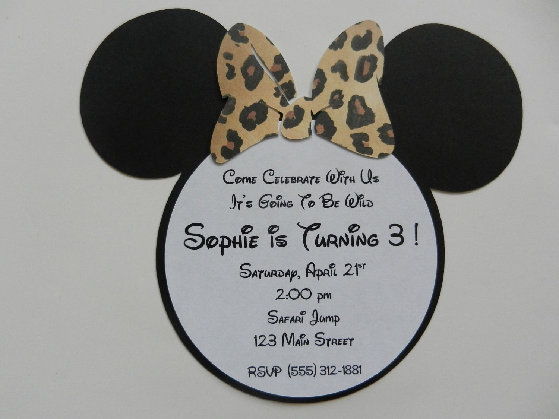 Giraffe Leopard Minnie Mouse Inspired Invitations Minnie
