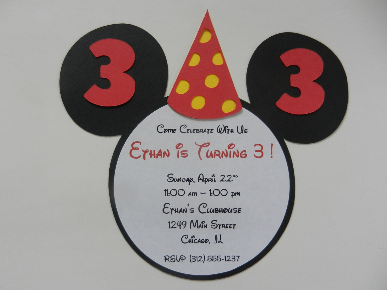 mickey mouse inspired invitations happy birthday party hat