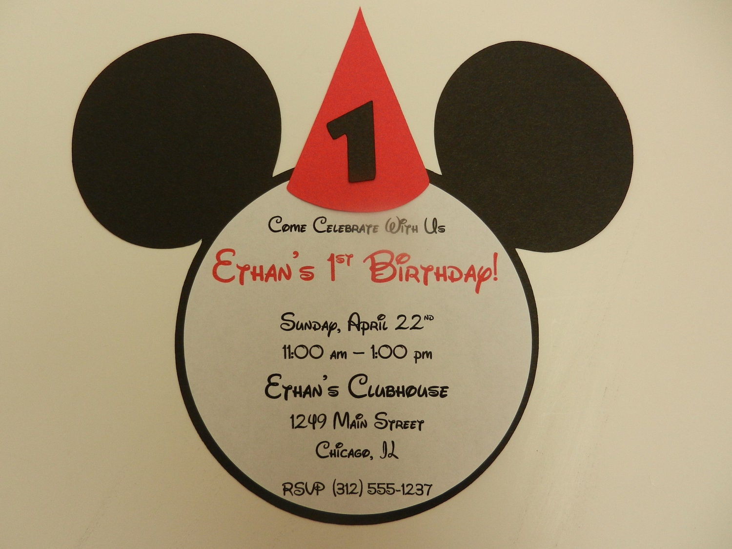 Mickey Mouse Inspired Invitations Mickey Party Hat Birthday