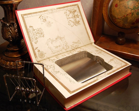 Hollow Book Safe & Flask - 1959 THE ARMADA -  (Flask Included)
