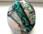 On Reserve for Susan -  Dichroic Glass Pendant/Fused Glass Necklace/Teal, Multi Colored/Summer/Spring