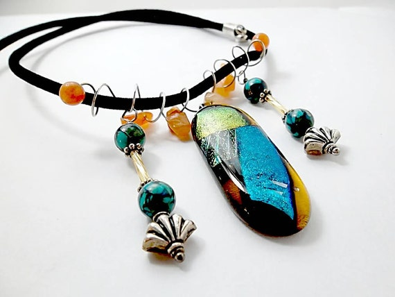 Dichroic Glass/Fused Glass/  Gemstone Necklace/Turquoise and Gold