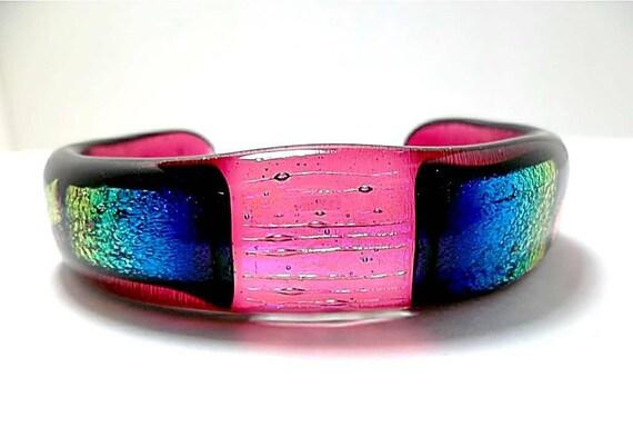 Dichroic Glass Bracelet/Fused Glass Bracelet/Cuff Bracelet/Mothers Day