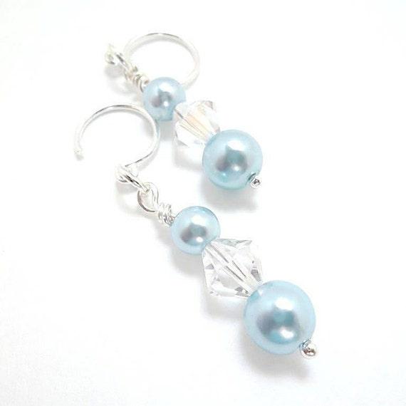 Wedding/ Pearl Bridal Earrings/Bridal Jewelry/Baby Blue Pearls/Crystals/Sterling Silver/Earrings