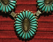 Southwest Sterling Silver Petit Point Turquoise Pendant Necklace