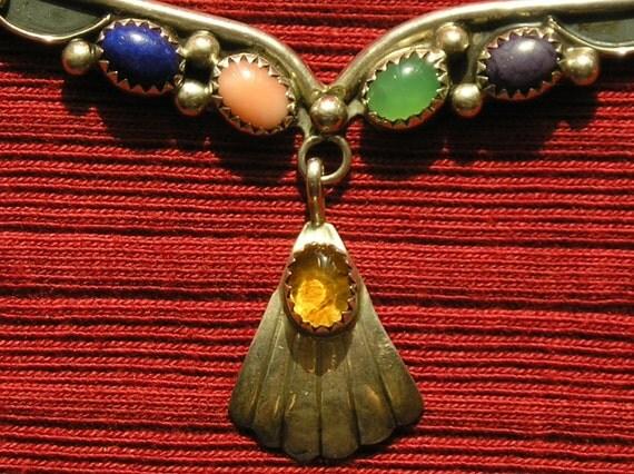 Native American Sterling Silver Multi Stone Pendant Necklace