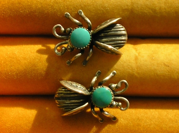 Southwest Sterling Silver Turquoise Inlay Bug Earrings